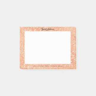 Copper Rose Gold Glitter Name Telephone Web FB Post-it Notes