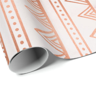 Copper Rose Gold Marble Tribal Stripes White Line Wrapping Paper