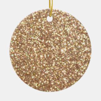 Copper Rose Gold Metallic Glitter Ceramic Ornament