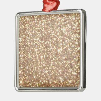Copper Rose Gold Metallic Glitter Metal Ornament