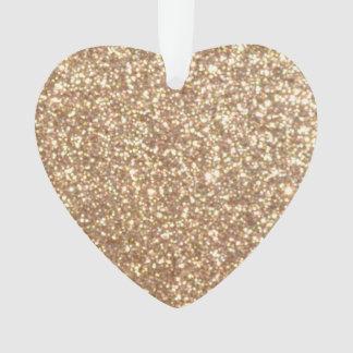 Copper Rose Gold Metallic Glitter Ornament