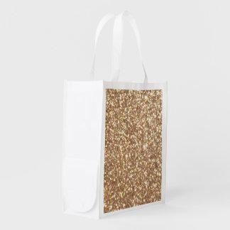 Copper Rose Gold Metallic Glitter Reusable Grocery Bag