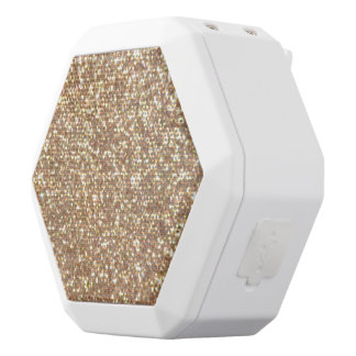 Copper Rose Gold Metallic Glitter White Bluetooth Speaker
