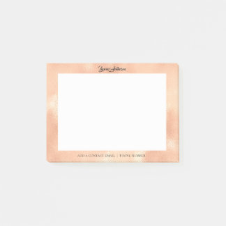 Copper Rose Gold Office Name Telephone Web FB Post-it Notes
