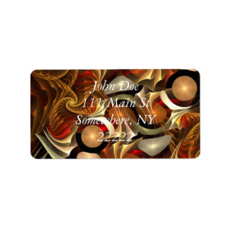 Copper Sci-Fi Abstract Art Address Label
