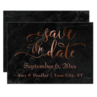 Copper Script & Black Marble Wedding Save the Date Card