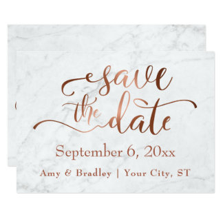 Copper Script & White Marble Wedding Save the Date Card