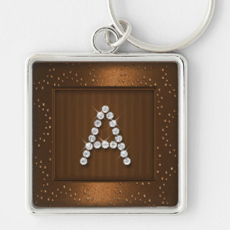 Copper Shimmer and Sparkle with Monogram Silver-Colored Square Key Ring