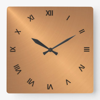 Copper Shine Black Roman Numerals Square Wall Clock