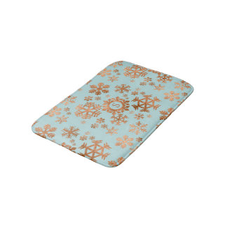 Copper Snowflake Monogram Robins Egg Blue Bath Mat