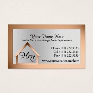 Copper Steel House Building with Monogram Business Card