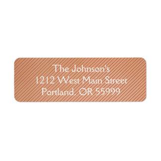 Copper striped design return address label
