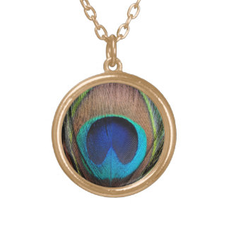 Copper/Teal/Blue Peacock Feather Round Pendant Necklace