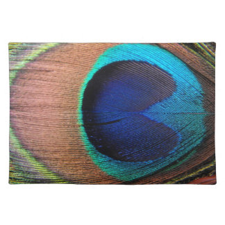 Copper/Teal/Blue Peacock Feather Place Mat
