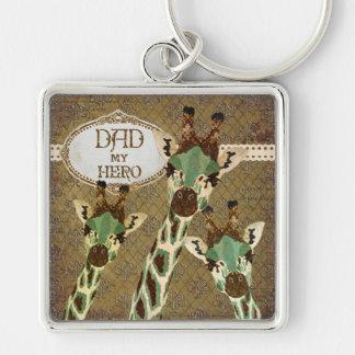 Copper & Teal  Giraffes  Best Dad Keychain
