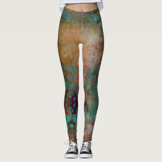 Copper, Turquoise and Magenta Abstract Leggings