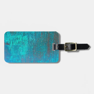 copper verdigris teal abstract modern art design luggage tag