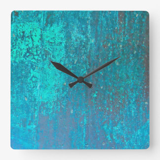 copper verdigris teal abstract modern art design square wall clock