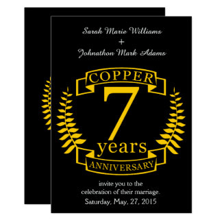 Copper wedding anniversary 7  years card