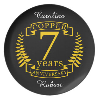 Copper wedding anniversary 7  years plate