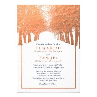 Copper Winter Trees Avenue Navy Wedding Invitation
