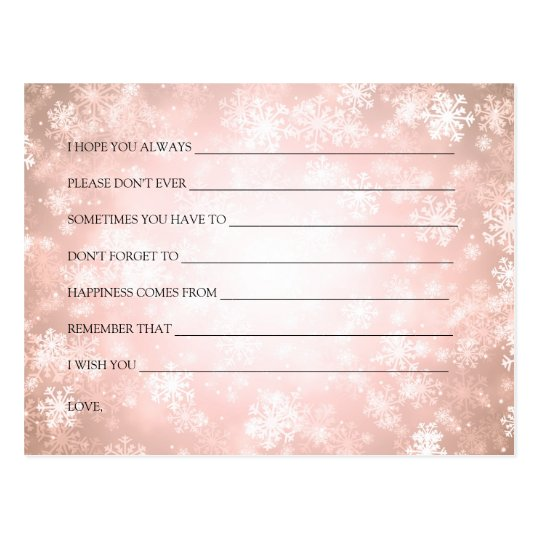 Copper Winter Wonderland Bridal Shower Advice Postcard