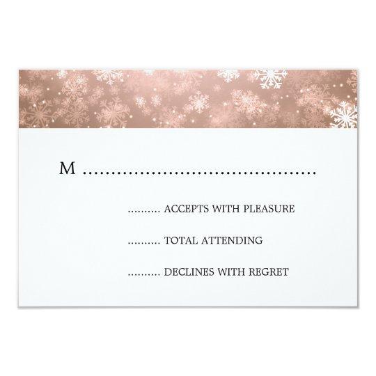 Copper Winter Wonderland Elegant Wedding RSVP Card