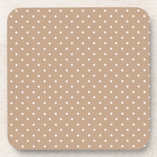 Coppertone Coffee Brown And White Small Polka Dots Drink Coasters