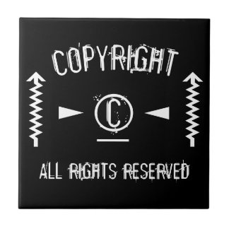 Copyright Symbol All Rights Reserved With Arrows Ceramic Tile
