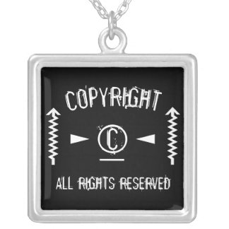 Copyright Symbol All Rights Reserved With Arrows Silver Plated Necklace