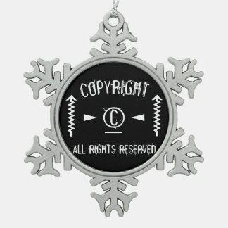 Copyright Symbol All Rights Reserved With Arrows Snowflake Pewter Christmas Ornament