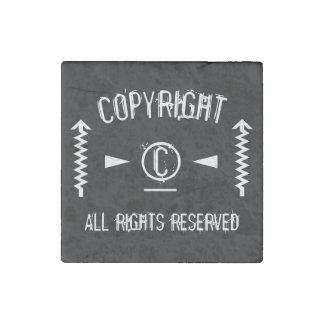 Copyright Symbol All Rights Reserved With Arrows Stone Magnet