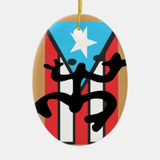Coqui taíno on flag of Puerto Rico Ceramic Ornament