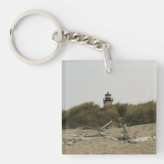 Coquille River Lighthouse, View from the Beach Key Ring