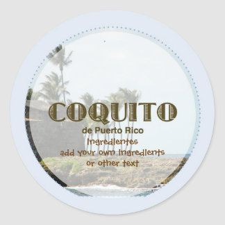 Coquito Puertorriqueno Blue Classic Round Sticker