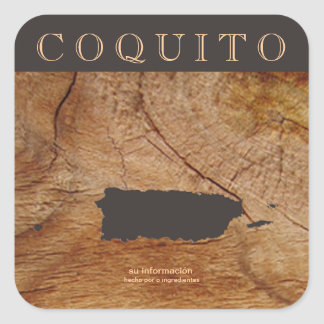 Coquito Puertorriqueno Mapa Square Sticker