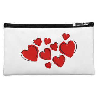 Corações vermelhos cosmetics bags