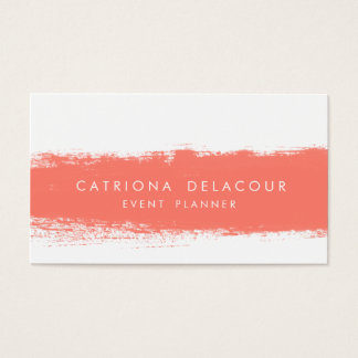 Coral Abstract Watercolor Splash Business Card