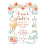 Coral and Aqua Brunch and Bubbly Bridal Shower 13 Cm X 18 Cm Invitation Card