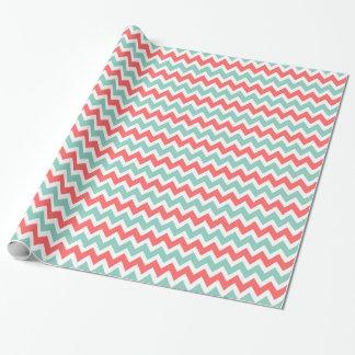 Coral and Aqua Zigzag Chevron Stripes Wrapping Paper