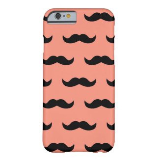 Coral And Black Moustache Pattern iPhone 6 Case