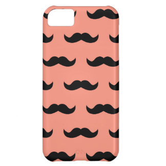 Coral And Black Moustache Pattern iPhone 5C Case