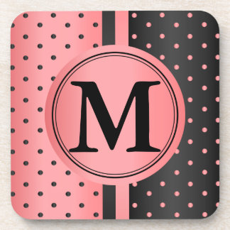 Coral and Black Polka Dots - Monogram Drink Coaster