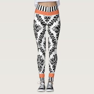 Coral and black white damask pattern & stripes leggings