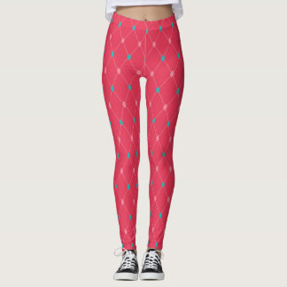 Coral and Blue Diamond Pattern Leggings