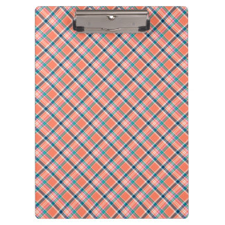 Coral and Blue Girly Plaid Clipboards
