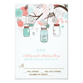 Coral and Blue Mason Jars Floral RSVP Card 9 Cm X 13 Cm Invitation Card