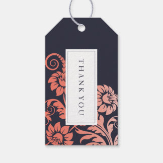 Coral and Blue Wedding Favor Gift Hang Tag