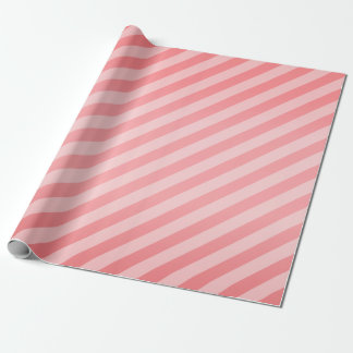 Coral and Diagonal Stripes Wrapping Paper