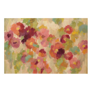 Coral and Emerald Garden Wood Wall Art